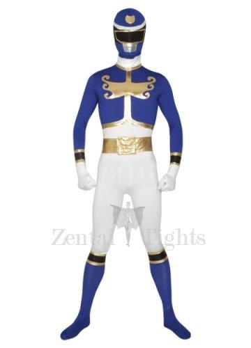 Blue And White Super Hero Lycra Morph Suit Zentai Suit