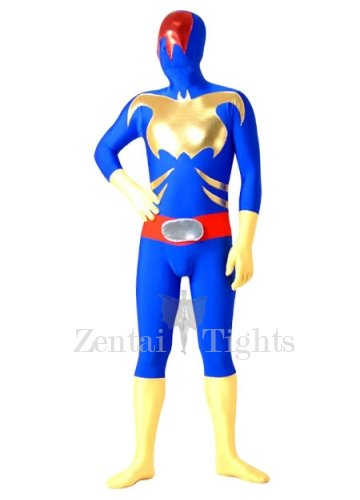 Blue with Yellow And Red Lycra Spandex Morph Suit Zentai Suit