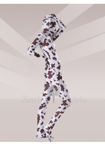 Brown And White Cow Lycra Spandex Unisex Morph Suit Zentai Suit
