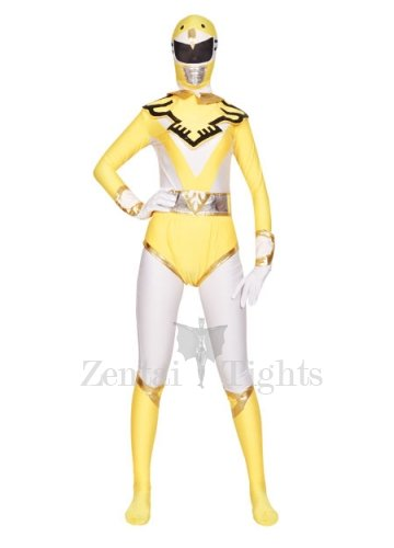 Classic Ideal Yellow And White Shiny Metallic Lycra Super Hero Morph Suit Zentai Suit
