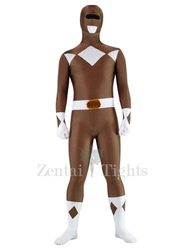 Coffee with White Lycra Spandex Super Hero Unisex  Morph Suit Zentai Suit