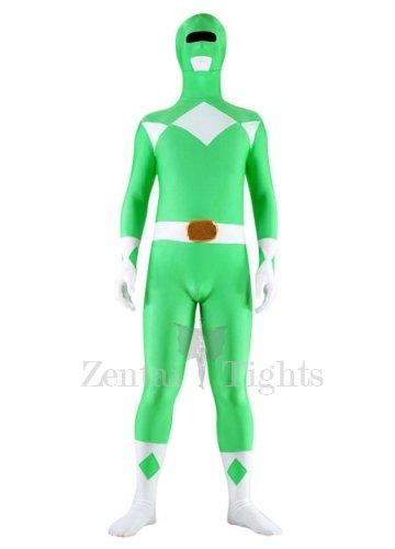 Green And White Lycra Spandex Unisex Super Hero Morph Suit Zentai Suit