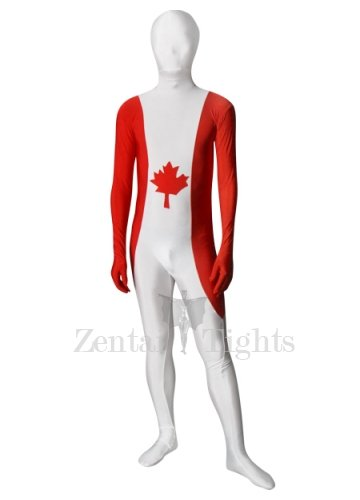 Pattern of Canadian Flag Unisex Lycra Morph Suit Zentai Suit