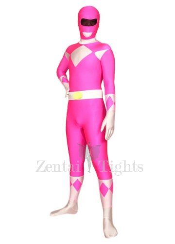 Pink And White Lycra Spandex Super Hero Morph Suit Zentai Suit