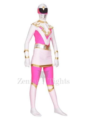 Pink and White Spandex Lycra Morph Suit Zentai Suit