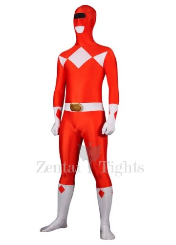 Red with White Lycra Spandex Super Hero Morph Suit Zentai Suit