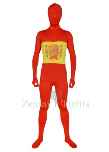 Red with Yellow White Spandex Lycra Morph Suit Zentai Suit