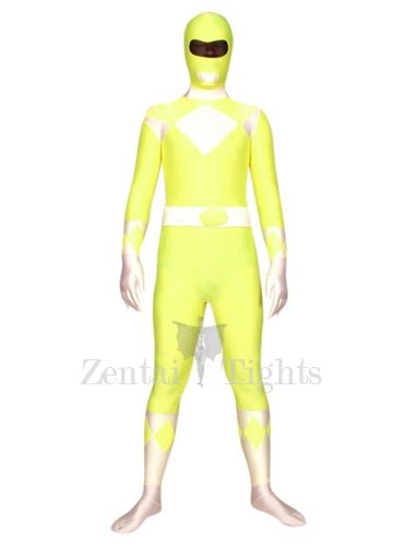Yellow with White Space Warrior Baldios Lycra Spandex Super Hero Morph Suit Zentai Suit