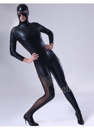 Classic Black Shiny Metallic Male Morph Suit Zentai Suit