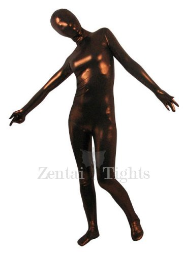 Coffee Shiny Metallic Unisex Morph Suit Zentai Suit