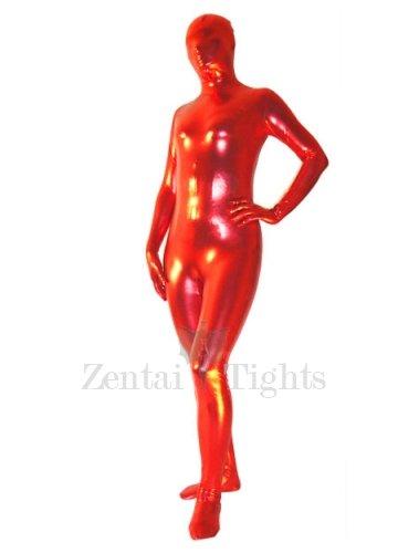 Popular Red Shiny Metallic Unisex Morph Suit Zentai Suit