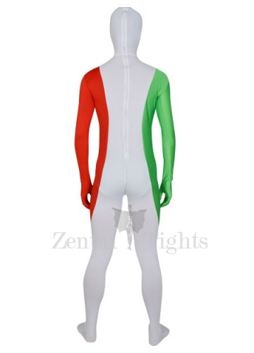 Red White And Green Lycra Spandex Male Morph Suit Zentai Suit