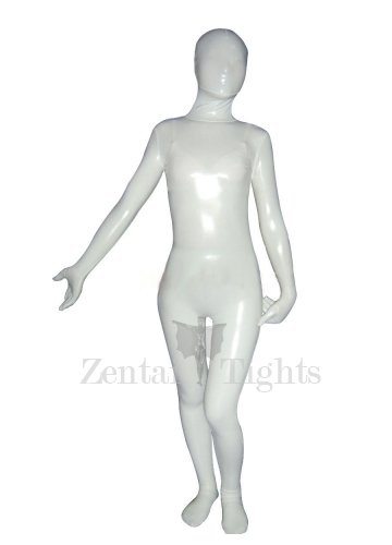 White Cream Shiny Metallic Unisex Morph Suit Zentai Suit