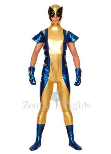 Gold Blue And Black Shiny Metallic Super Hero Morph Suit Zentai Suit