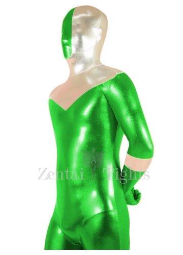 Green And Silver Shiny Metallic Super Hero Morph Suit Zentai Suit