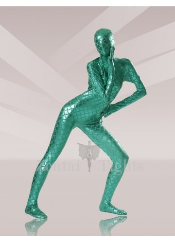 Green Fish Scale Shiny Metallic Morph Suit Zentai Suit