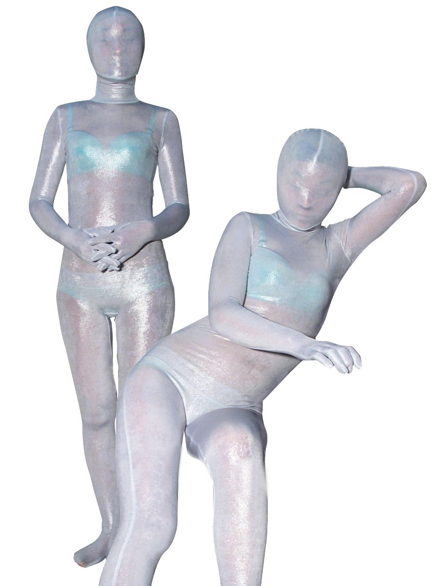 Silver White Velvet Unisex Morph Suit Zentai Suit