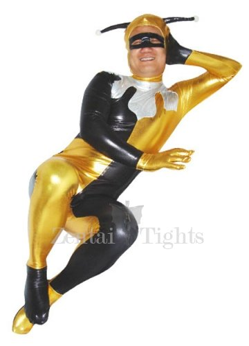 Yellow And Black Shiny Metallic Unisex Morph Suit Zentai Suit