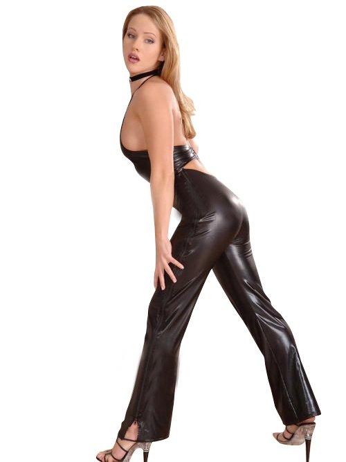 Black Shiny Metallic Black Dress with Halter Style