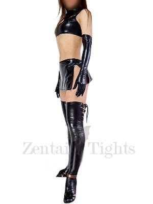 Black Shiny Metallic Sexy Four-Set Costume