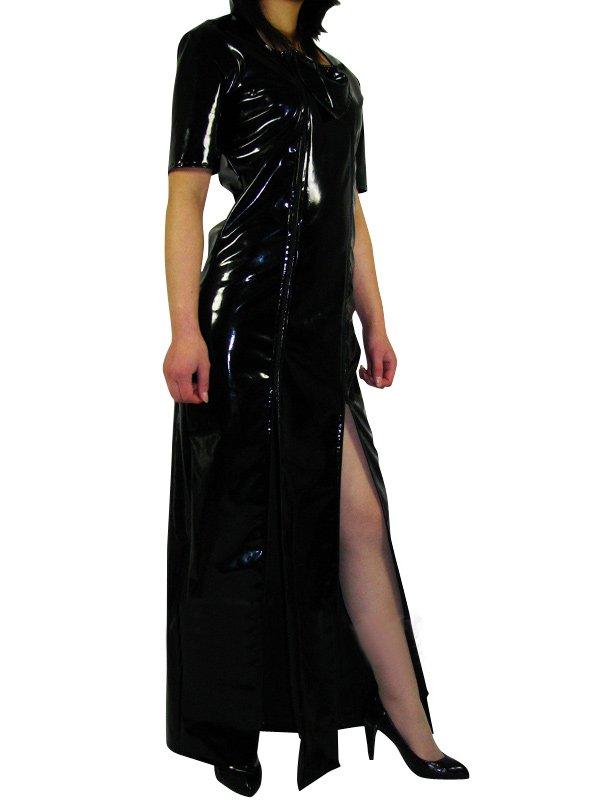Black Short Sleeves PVC Maxi Dress