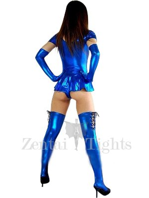 Blue Short Sleeves Shiny Metallic Sexy Dress