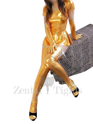 Gold Short Sleeves Shiny Metallic Sexy Dress