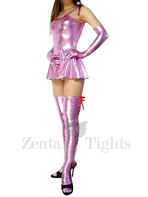 Ideal Superior Pink Shiny Metallic Sexy Dress