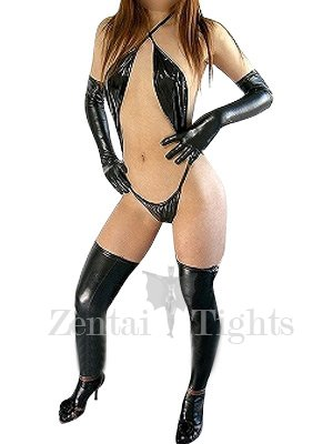 Superior Black Shiny Metallic Sexy Costume