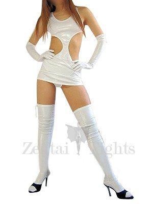 Classic Superior White Shiny Metallic Sexy Dress