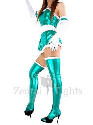 Cool Green Shiny Metallic Lace Trim Sexy Dress
