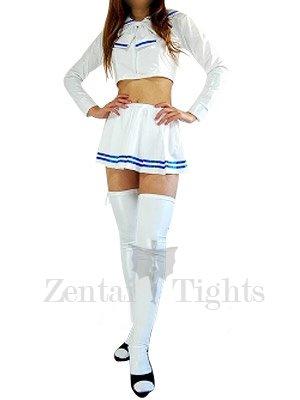 Nice White Long Sleeves Shiny Metallic Skirt Suit