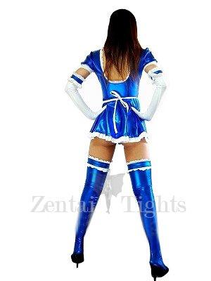Perfect Blue Shiny Metallic Lace Trim Sexy Dress