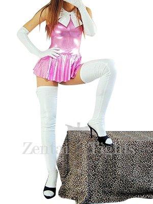 Pink Shiny Metallic Bowknot Mini Skirt Suit