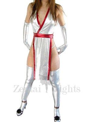 Popular White Shiny Metallic Sexy Costume