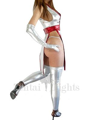 Popular White Shiny Metallic Sexy Costume