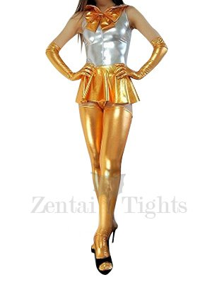 Silver Gold Shiny Metallic Bowknot Mini Skirt Suit