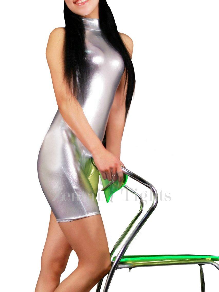 Silver Shiny Metallic Half Length Sleeveless Unisex Catsuit