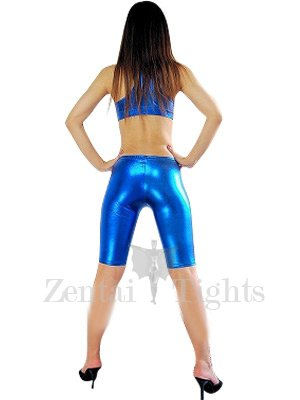 Suitable Cheap Cool Blue Sleeveless Shiny Metallic Suit