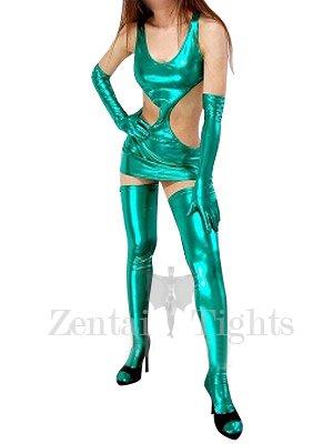 Suitable Green Shiny Metallic Sexy Dress