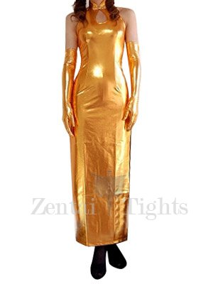 Suitable Top Gold Shiny Metallic Sexy Dress