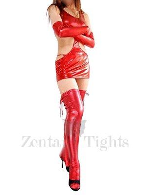 Superior Red Shiny Metallic Sexy Dress
