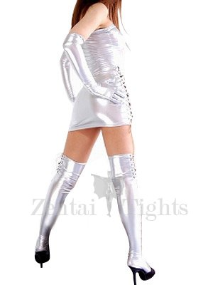 Top Silver Shiny Metallic Sexy Dress