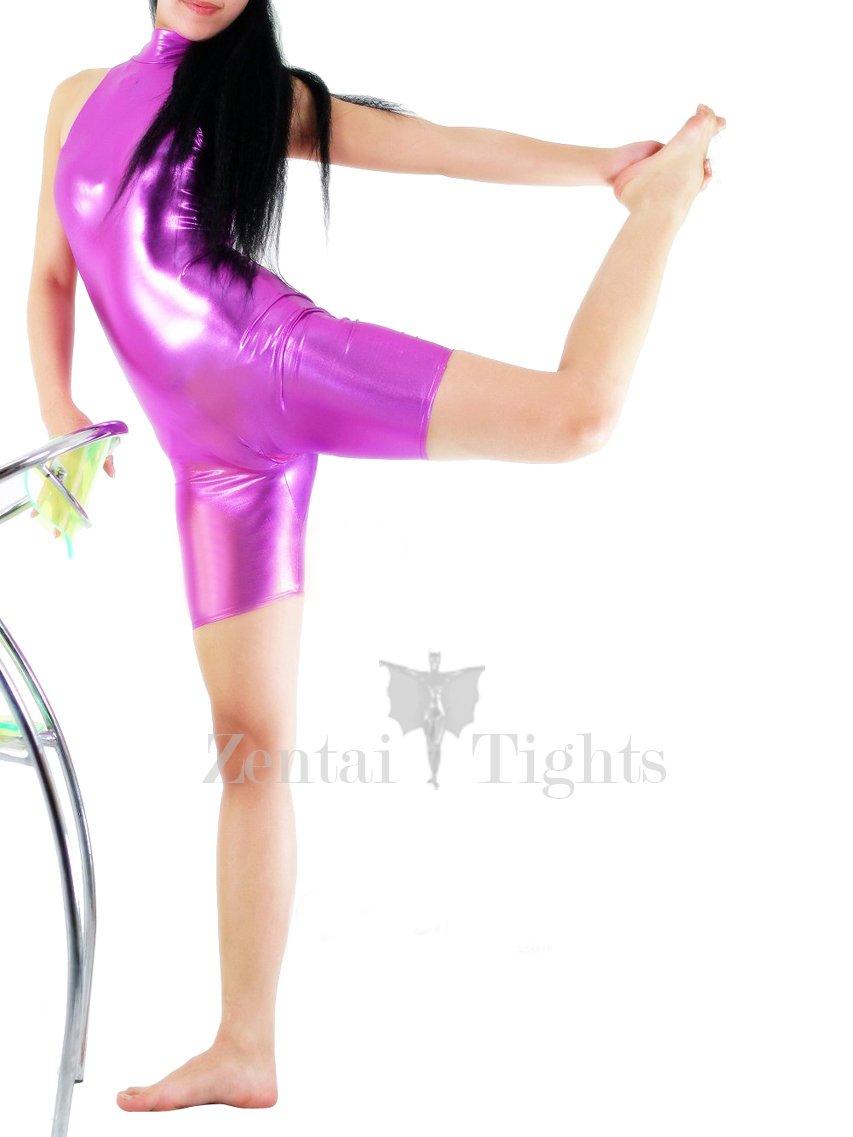 Violet Shiny Metallic Half Length Sleeveless Unisex Catsuit