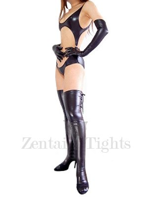 Black Shiny Metallic Sexy Three-Piece Suit Costume