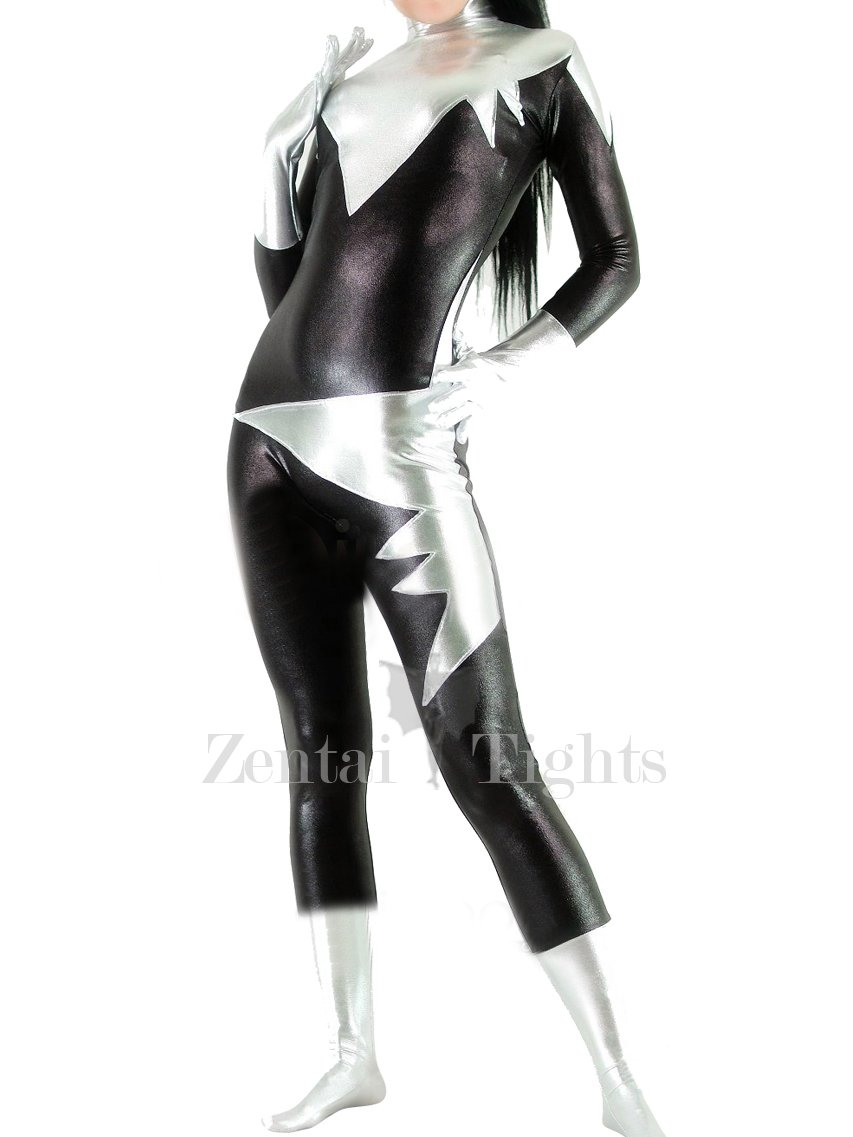 Black with Silver Shiny Metallic Unisex Catsuit