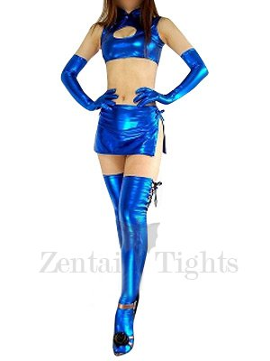 Blue Shiny Metallic Sexy Four-Set Costume