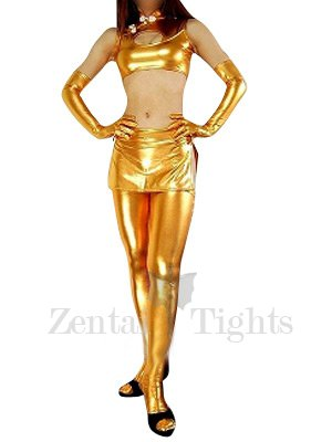 Gold Shiny Metallic Sexy Three-Set Costume