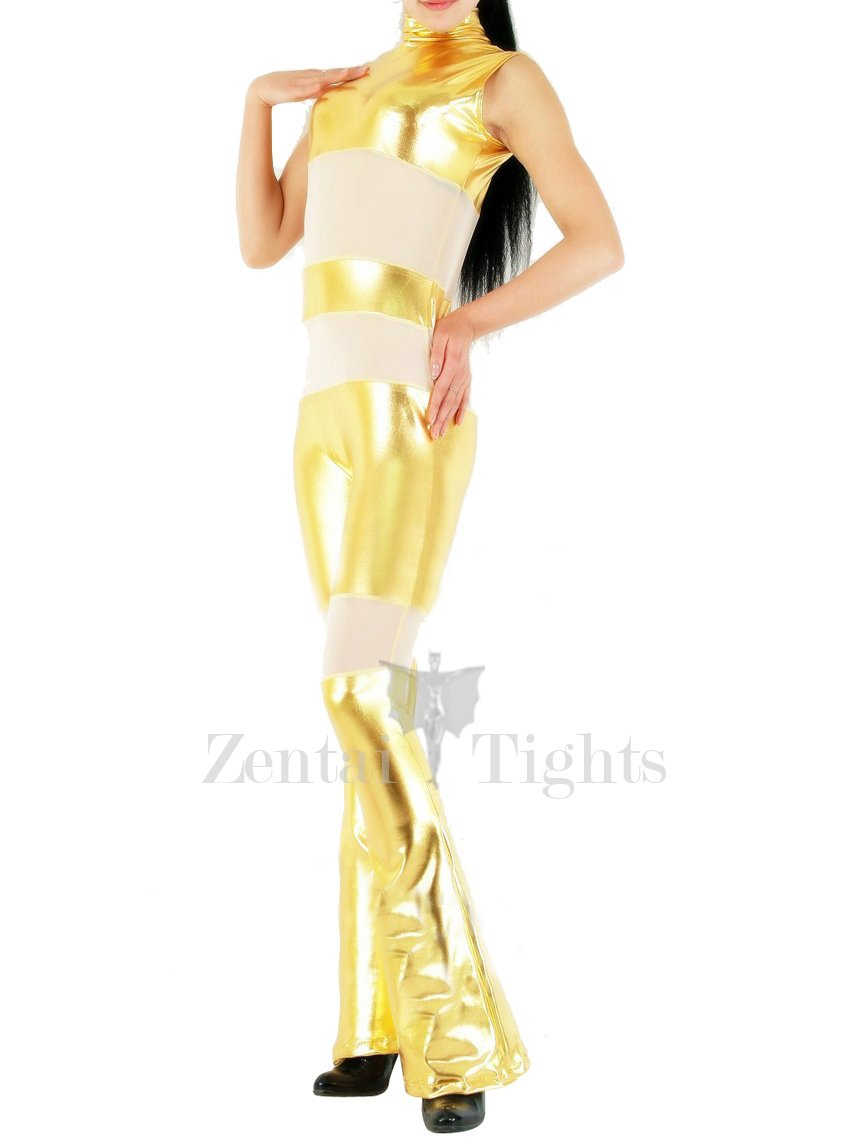 Gold Shiny Metallic with Velour Fabric Half Length Sleeveless Catsuit