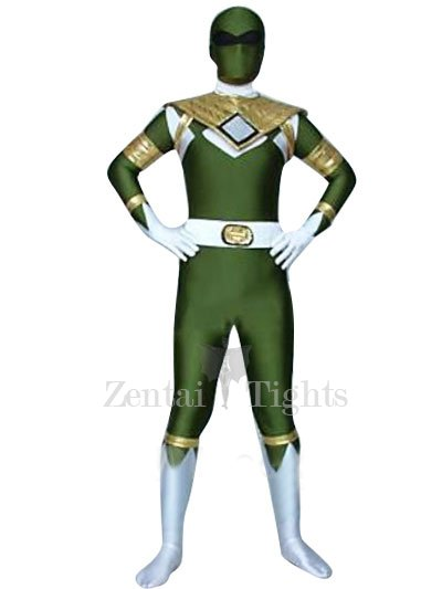 Green GouGou Senta Lycra Shiny Metallic Super Hero